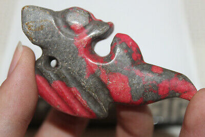 Chinese ancient red mountain culture turquoise carved amulet