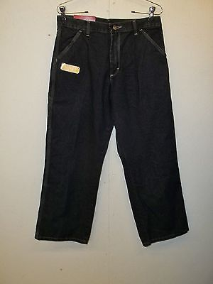 NWT Wrangler Boys Carpenter Jeans-14H-Dark Wash-Loose Fit