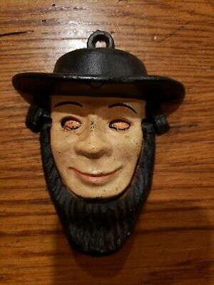 Vintage Amish Man w/ Open/Close Eyes Wilton Cast Iron Door Knocker