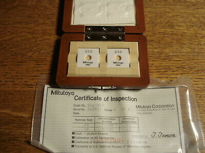 Mitutoyo Ceramic Gage Block 2 pc Set .050 Grade 3 Gage Blocks New in box w/ cert