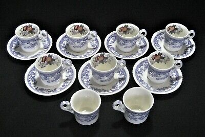 SPODE Copeland China  MAYFLOWER 2/8772  7- DEMITASSE CUPS & SAUCERS + 2Free Cups