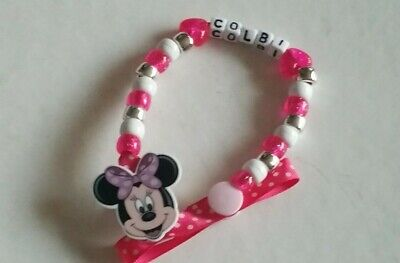 BABY GIRL LARGE BLING MINNIE MOUSE PERSONALISED DUMMY SAVER HOLDER CLIP