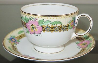 Elegant AYNSLEY England Gold Trim Floral Bone China Cup and Saucer Set