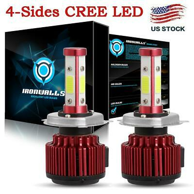 4-Sides COB H4 LED Headlight Kit Bulbs Hi/Lo Beam 6500K 9003 HB2 2500W 375000LM