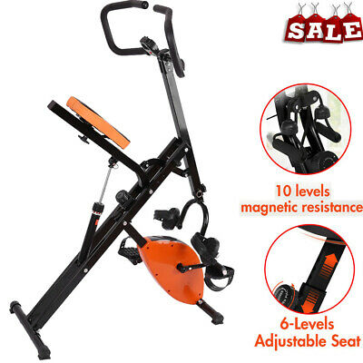 Foldable Stationary Upright Exercise Bike Cardio Workout Cycling Magnetic LCD