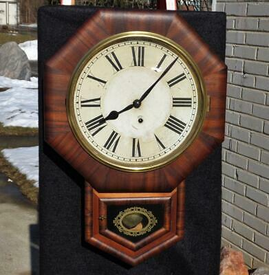 Antique Ansonia Rowsewood Office Regulator Wall Clock, Painted Glass Label Runs