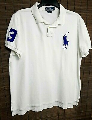 Polo By Ralph Lauren Mens Polo Golf Shirt Top Xl/Eg White Blue Large Pony