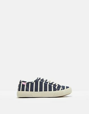Joules Womens Coast Pump Canvas Lace Up Trainers - NAVY STRIPE Size Adult Size 3