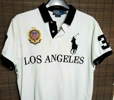 Ralph Lauren Los Angeles Mens Polo Rugby Shirt Top L White Black Large Pony