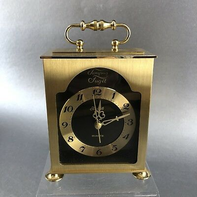 Forestville Tempus Fugit Brass Mid Century Modern Desk Clock Vintage Battery