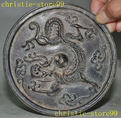 """4""""Old Chinese Dynasty Fengshui pure Bronze Dragon Ward off evil Bronze Mirrors"""