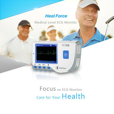 Portable ECG EKG Monitor Machine Heart Rate Monitor w/ USB Cable Electrode Q3R5