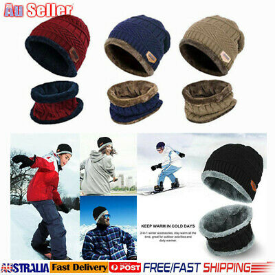 2-Piece Winter Beanie Hat Scarf Set Warm Knit Thick Knit Skull Cap for Men Women