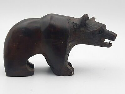 Antique Vintage Small Hand Carved Wooden Black Forest Bear Ornament Figurine