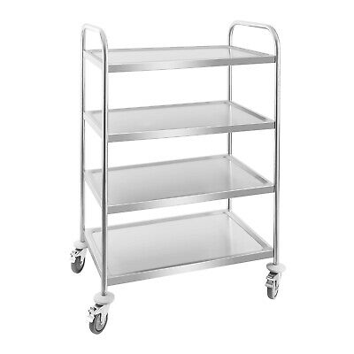 Stainless Steel Gastro Serving Cart 4 Large Storage Areas Anti Shock Very Mobile