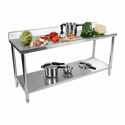 Stainless Steel Topped Work Bench Table 2 Shelves 11 Cm Upstand 180 X 60 Cm