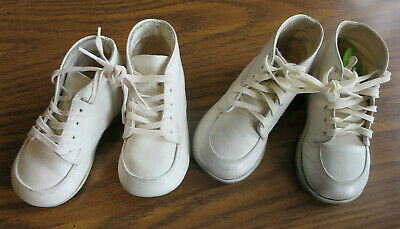 Vintage White Leather Hard Sole Baby Walking Shoes 2 Pr.