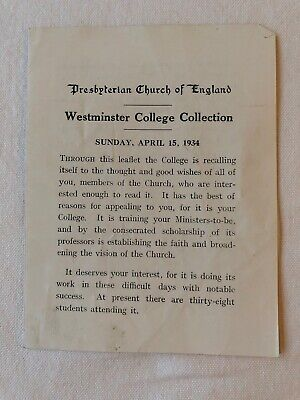 Vintage Leaflet From 1934 - Presbyterian Church Of England - Westminster College