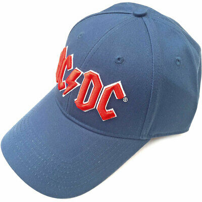 AC/DC UNISEX BASEBALL CAP: RED LOGO (DENIM BLUE) 100% Official Merchandise