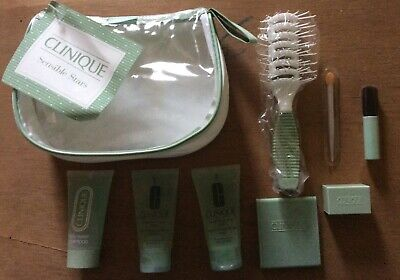 Clinique Clear Make Up Bag + Samples + Accessories Hairbrush Liquid Facial Soap