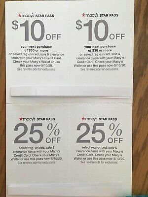 Four Macy's Star Pass Coupons (2) 25% Off and (2) $15 off $40  exp 5/10/20