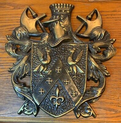 Vintage Ornate Cast Metal Medieval Coat Of Arms Knight Shield Japan Wall Plaque