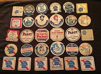 30 Different Pabst Blue Ribbon Beer Coasters- Milwaukee, Wisconsin. !!