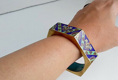 Chinese Art Deco Cloisonné Blue Enamel 6 Sided Hexagonal Bangle 1920-1930