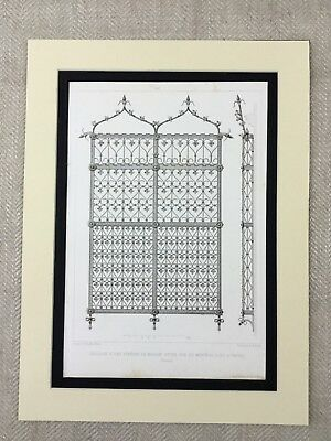 1857 Antique Print French Wrought Iron Gates Architectural Design French
