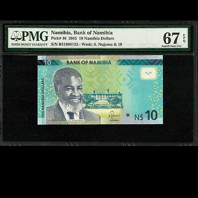 Bank of Namibia 10 Dollars 2015 PMG 67 SUPERB GEM UNCIRCULATED TOP POP P-16