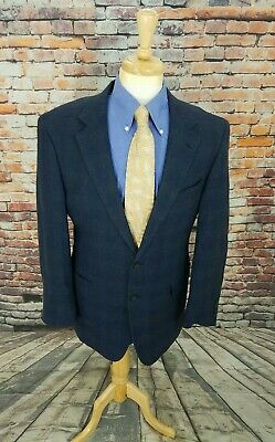 Jos A Bank 42L Navy Glen Plaid 2 Button LINEN WOOL Sport Coat Blazer Jacket EUC