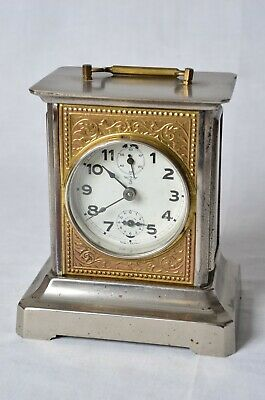 Antique Working Mauthe German Carriage Clock Swiss Musical Alarm