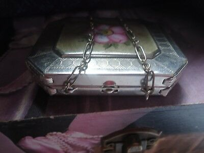 Guilloche Vtg Enamel  Pink Hand Painted Flower Lovely Chatelaine Chain Compact