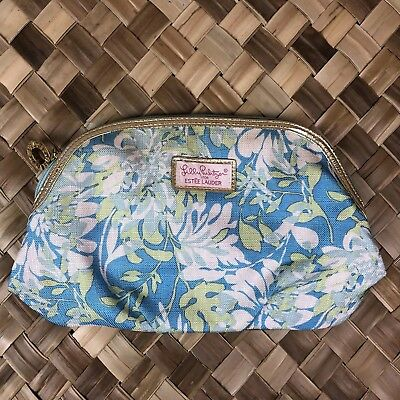 Lilly Pulitzer Estee Lauder Blue Green Floral Cosmetic Makeup Bag Organizer Gold