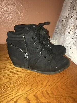 Youth Girls Size 3 Justice Black Sneaker Heels  - Free Ship