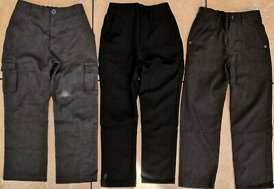 3x Next George School Trousers Chinos Black Grey Boys Size 6-7 Years