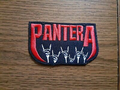 Pantera + Logo,Iron On White And Red Embroidered Patch