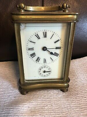Early French Brass & Beveled Glass H&H Carrige Clock