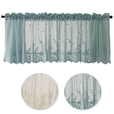 1pc Window Valance Lace Hem Coffee Short Curtain Kitchen Closet Door Decoration