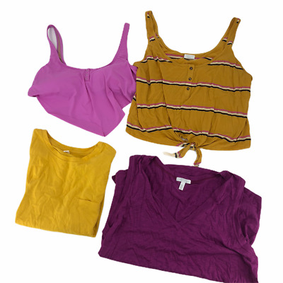 Abound BP VYB Womens Tops Set of 4 Yellow Purple Striped Short Sleeve Crop L New