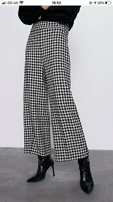 Zara Black White Tweed Checked Gingham Culottes Cropped Trousers Xs