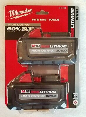 Genuine Milwaukee M18 18-Volt High Output Battery Pack 6.0Ah (2-Pack) 48-11-1862