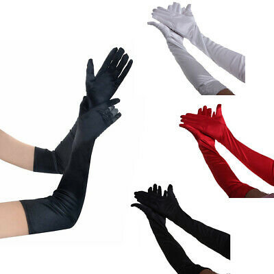 US Women Satin Evening Gloves 17.7'' Long Party Dance Elbow Length Opera Gloves