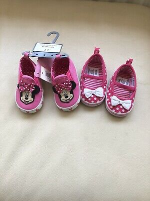 Brand New Baby Girls Pink Pre Walker Pram Shoes 0-3 Months Minnie Mouse BHS