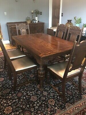 Kittinger 1920's Antique Dining Room Furniture Set Jacobean Gothic Buffet China