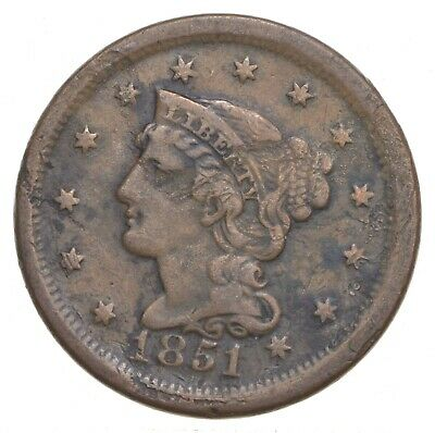 Better 1851 Braided Hair US Large Cent Penny Coin Collection Lot Set Break *907