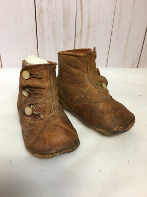 Antique Victorian Leather 3 Button Child's Tall Boots Shoes