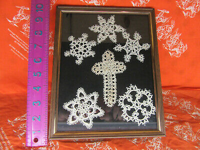 Lot of 6 Vintage Snow Flake & Cross Hand Crochet Lacey Embroidered Doilies
