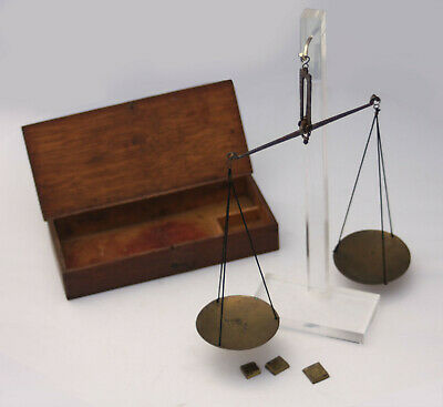 Apothecary SCALE. Antique handheld brass balance, case & 3 weights. Circa 1820