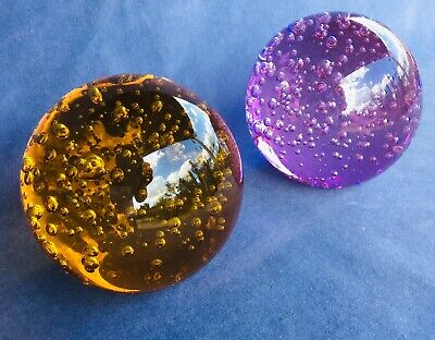 Vintage Modern Acrylic Sculpture Spheres Pair Purple Brown Mid Century Art